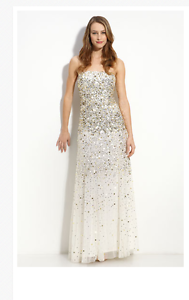 Adrianna Papell Sequined Strapless Mesh Gown Sz 6 gold Ivory Red Carpet E Jovani
