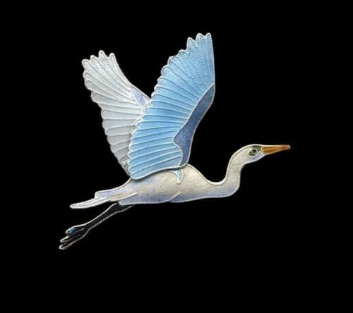 GREAT EGRET Cloisonne PIN by Bamboo Jewelry STERLING SILVER Enamel Bird - Boxed