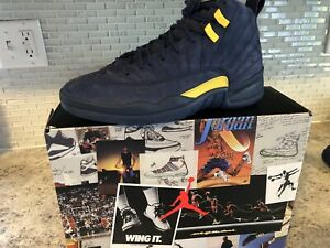 check out 3dcb4 104ef Details about Air Jordan 12 RTR Michigan NRG DS College Navy/Amarillo  BQ3180-407 Men's Sz 9