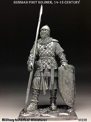 Tin soldiers 54 mm Russian foot soldier, 14-15 century