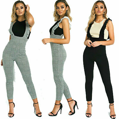 Womens Ladies Check Dog Tooth Frill Ruffle Pinafore Jumpsuit Bodycon Party Dress
