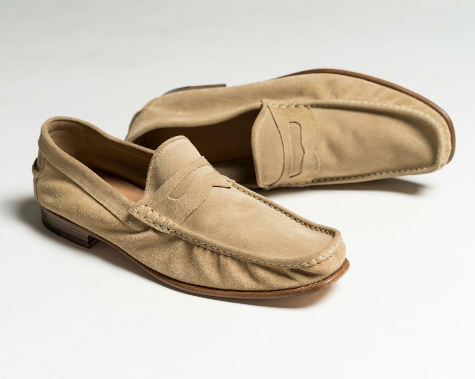 Kiton Neu IN Box Beige Wildleder Pennyloafer Schuhe 9.5 US