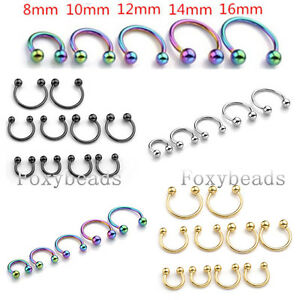 16g 6 14mm Steel Horseshoe Bar Lip Nose Septum Helix Tragus