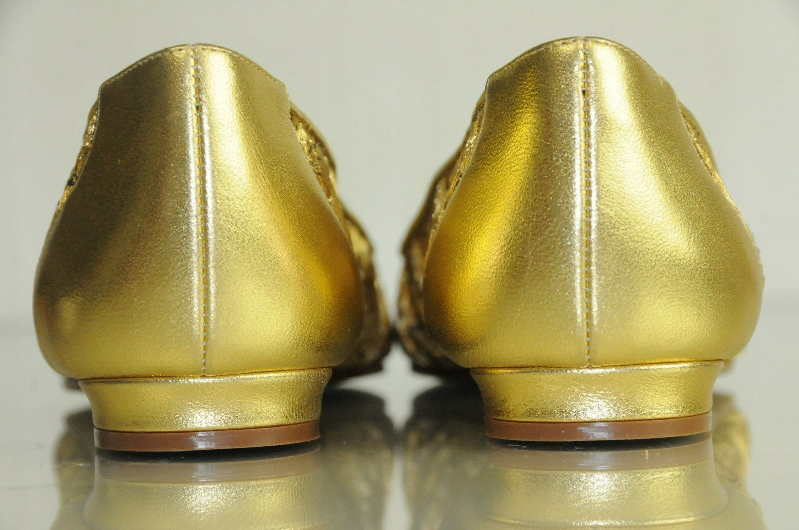 NEW MANOLO BLAHNIK gold Embroidered Lace on on on Mesh Leather Flats Low Heels 40 41 b58df8
