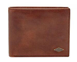 FOSSIL-Ryan-Large-Coin-Pocket-Bifold-Geldboerse-Portemonnaie-Braun