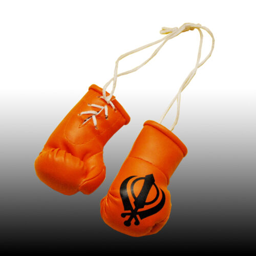 ORANGE SIKH KHANDA MINI BOXING GLOVE 4  REAR VIEW MIRROR OF YOUR CAR BRAND NEW