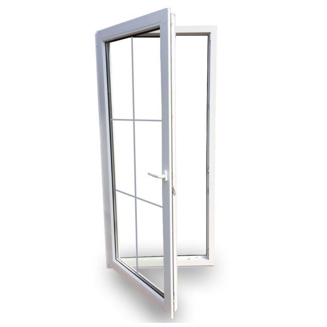 Balkontür Terrassentür Türe Tür Sprossen Kunststoff Türe 3 Fach Verglasung weiß