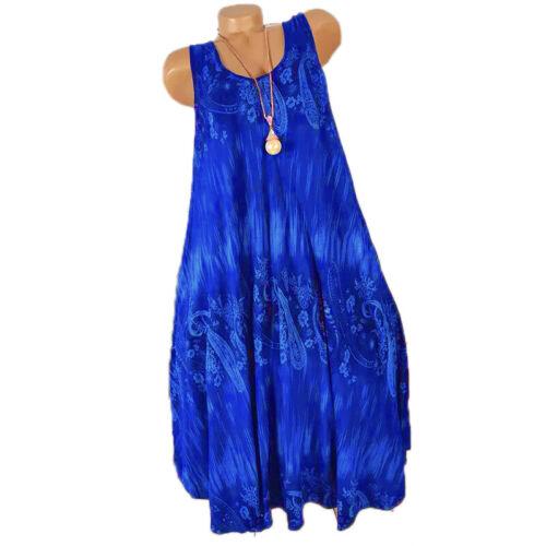 Plus Size Womens Sun Dress Lady Summer Sleeveless Mini Dress Loose Shift Dress