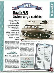 Saab-95-Breal-Berline-3-Cyl-1959-Sweden-Suede-Car-Auto-Retro-FICHE-FRANCE