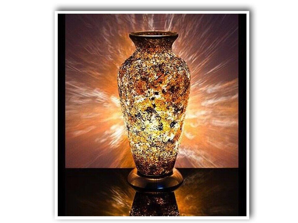 Mosaic Vase Lamp In Gelb Gold Bedroom Table Light