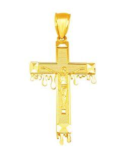 10k Yellow Gold Cross Charm Pendant Women/'s Gold Crucifix