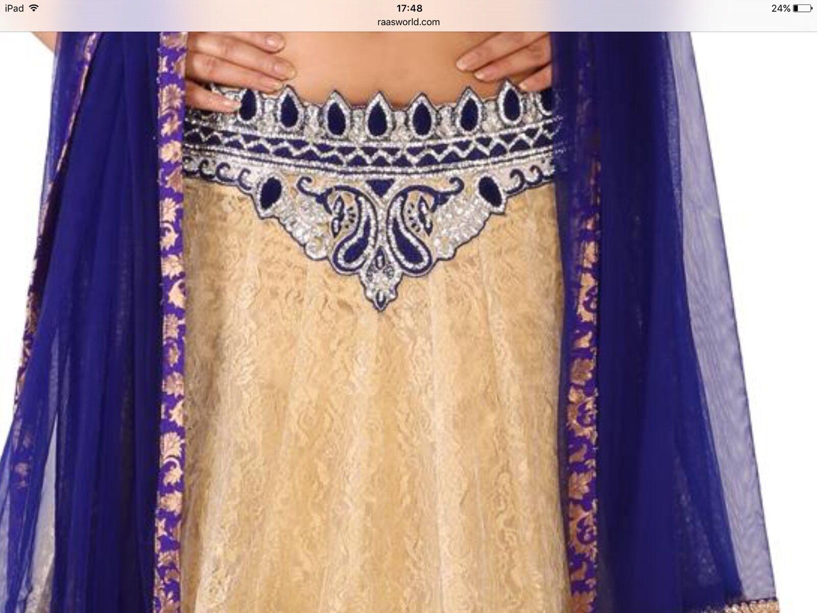 NUOVO Beige Blu Bollywood Bollywood Bollywood Asiatica Indiana Matrimonio Festa Lengha Choli 4cba58