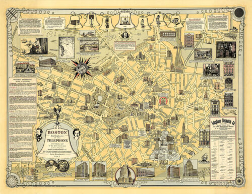 Pictorial Map of Boston Birthplace of the Telephone Alexander Graham Bell Poster