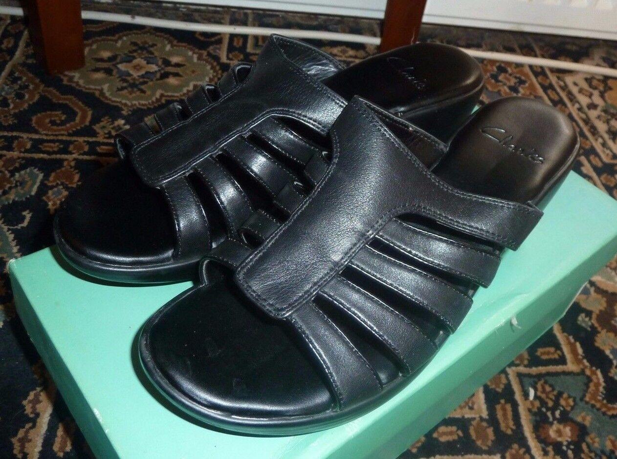 Clarks Puro Nero Scarpe Di Pelle Da Donna Sandles UK quattro e mezzo nuovo in scatola