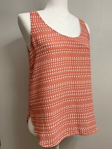 Ann Taylor Loft Tank Top Orange White Scoop Neck Sleeveless Blouse XS Extra Smal