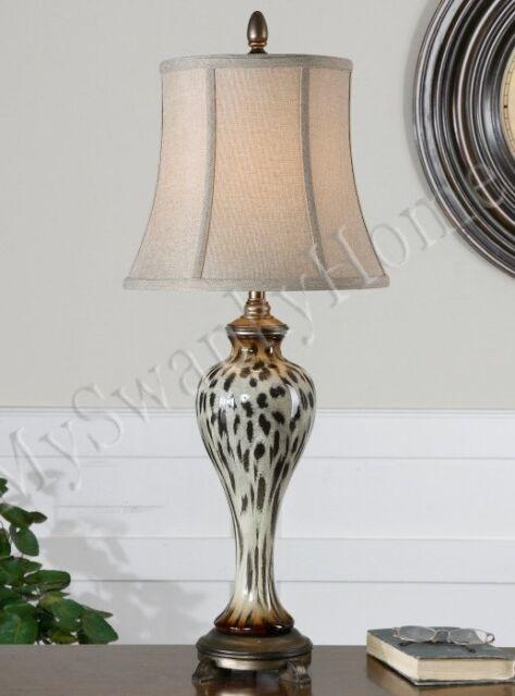 Contemporary ANIMAL PRINT Buffet Lamp Leopard Cheetah NEIMAN MARCUS Table Jungle