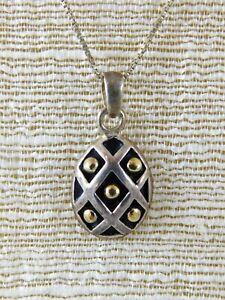Vintage-Sterling-Silver-Criss-Cross-Egg-Pendant-Necklace-Gold-Dot-Italy-CW-Chain