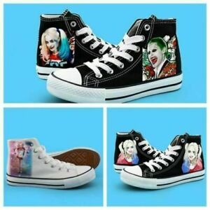 suicide squad harley quinn joker high canvas shoes casual