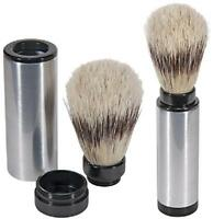 Kingsley Sb-8001, Travel Shave Brush - Pure Badger Bristle, Nickel Plated Brass