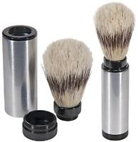 Kingsley Sb-8001, Travel Shave Brush - Pure Badger Bristle, Nickel Plated Brass