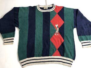 Vintage-90-039-s-Haendler-Biggie-Hip-Hop-selten-Golf-3d-Baumwolle-Gr-XL-Pullover-gestreift