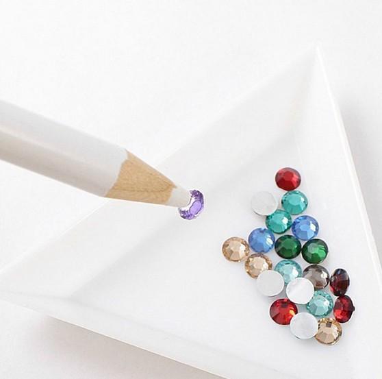 4x Wax White Gem Crystal Rhinestones Bead Picker Pencil Pen Nail Art DIY Tool HA