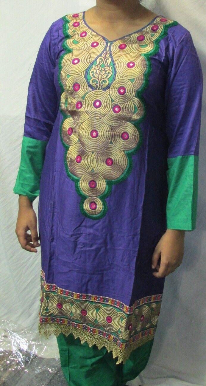 new design beautiful gold embroidery cotton salwar kameez Size L 42
