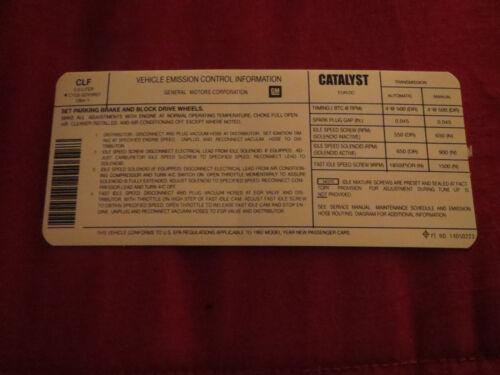 1982 CHEVROLET CAMARO 305 V8 ENGINE EMISSIONS SPECIFICATIONS DECAL STICKER