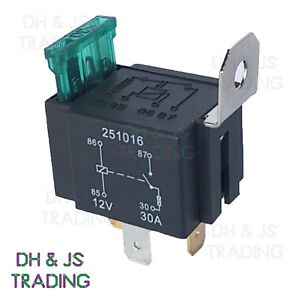 12v Relay 4 Pin Automotive 30amp 30a Normally Open Contact Fused Ry28 30a Fuse Ebay
