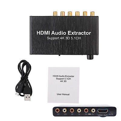 5.1CH 4K 3D Audio Extractor HDMI to HDMI AC-3//DTS Decoder 3.5mm Headphone Port