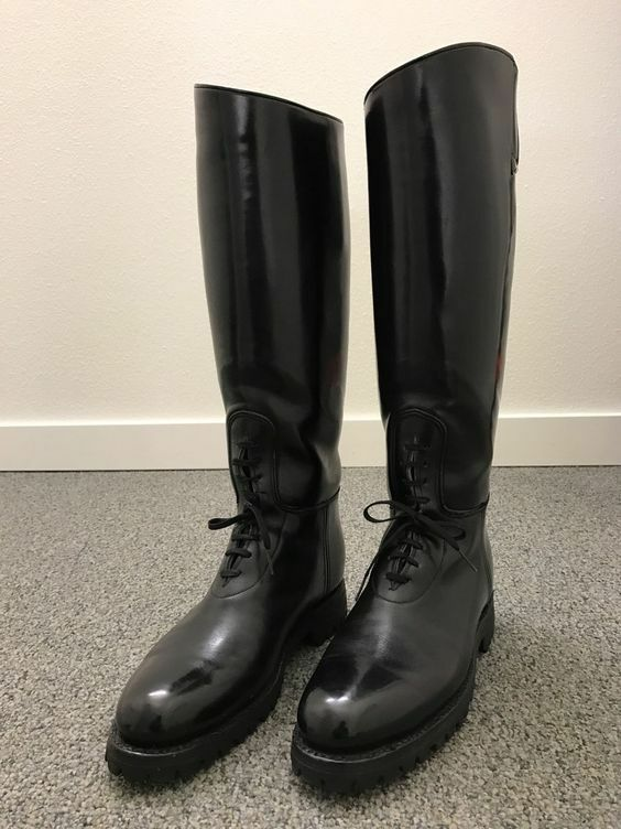 Men's Motorcycle Tall Riding Highway Police Patrol Leather Biker Boot