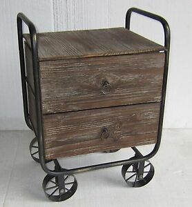 New-Brown-Industrial-Rustic-Cafe-Home-Bedside-Chest-Drawers-Cabinets-with-Wheels