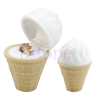 1Pc New Velvet Ice Cream Wedding Earring Ring Pendant Jewelry Display Box Gift