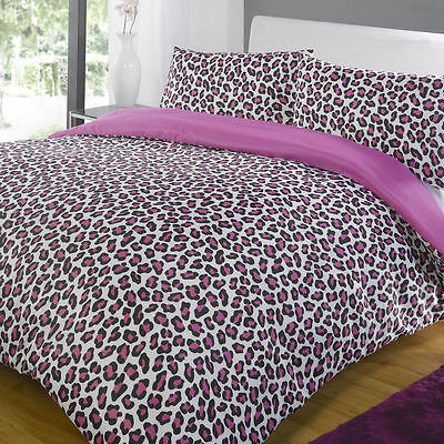 Leopard Pink & Black Contemporary Animal Print Duvet Quilt Cover Bedding Set