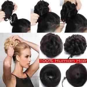 Real-Natural-Human-Hair-Bun-Ponytail-Scrunchie-Remy-Human-Hair-Extension-Clip-in
