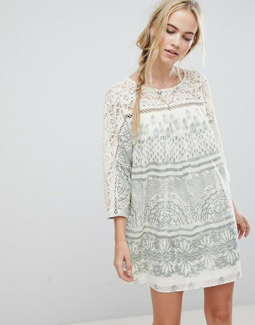 128 Free People Sundaze Sun Daze Ivory bluee Green Detail 3 4 sleeve Sun Dress M