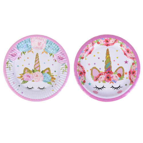 6pcs unicorn plates disposable paper plates dishes kids birthday party decor