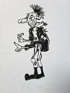 DIY Punk Rock Cartoon T-Shirt White Hand Printed M / L 100% Cotton Silk Screen