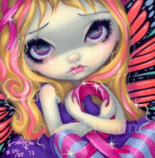 Faces of Faery 177 Jasmine Becket-Griffith art CANVAS PRINT pink ribbon BC fairy