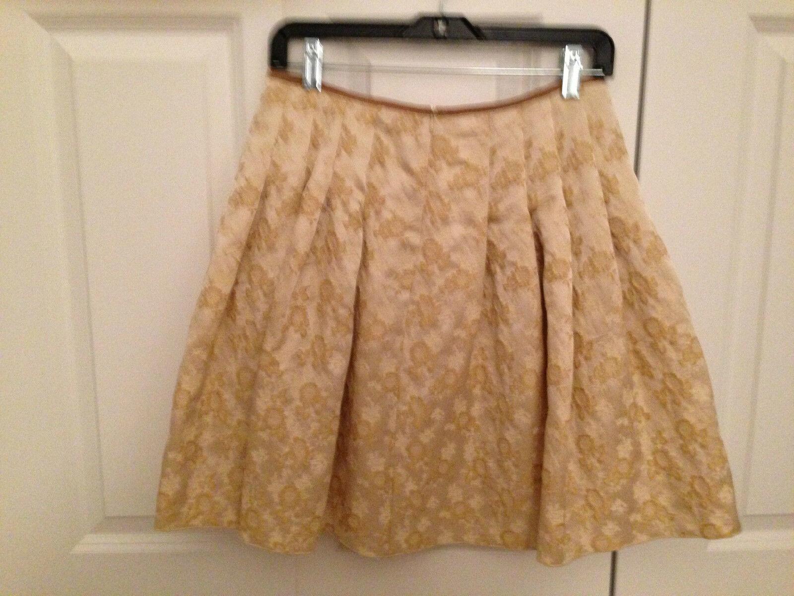 blueMARINE Anna Molinari Floral Brocade SKIRT WHITE gold Wool Silk Lurex SZ 4