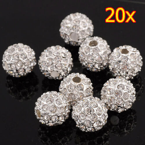 12MM 20PCS ROUND METAL BEAD PAVE BALLS WITH CRYSTAL RHINESTONE SPACER FINDINGS