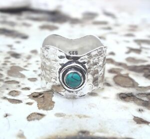 Turquoise-925-Sterling-Silver-Band-Ring-Meditation-Ring-Size-SRR33