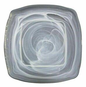 6 piezas conjunto de Vidrio Cuadrado Platos 26x26x2cm blanco alabastro Siena