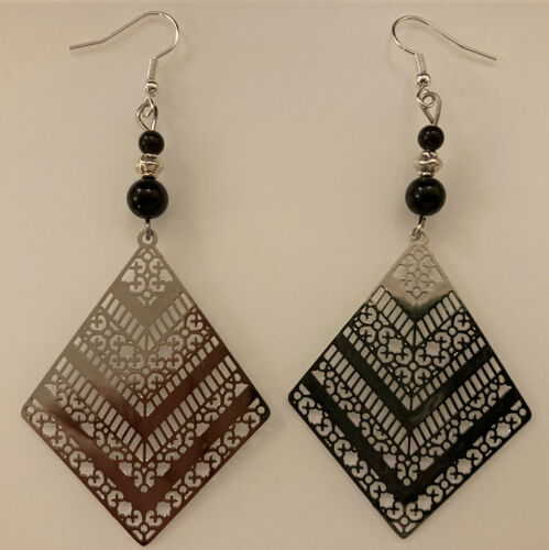 Long Dangle Drop Earrings Silver and Black Obsidian Tribal Protection