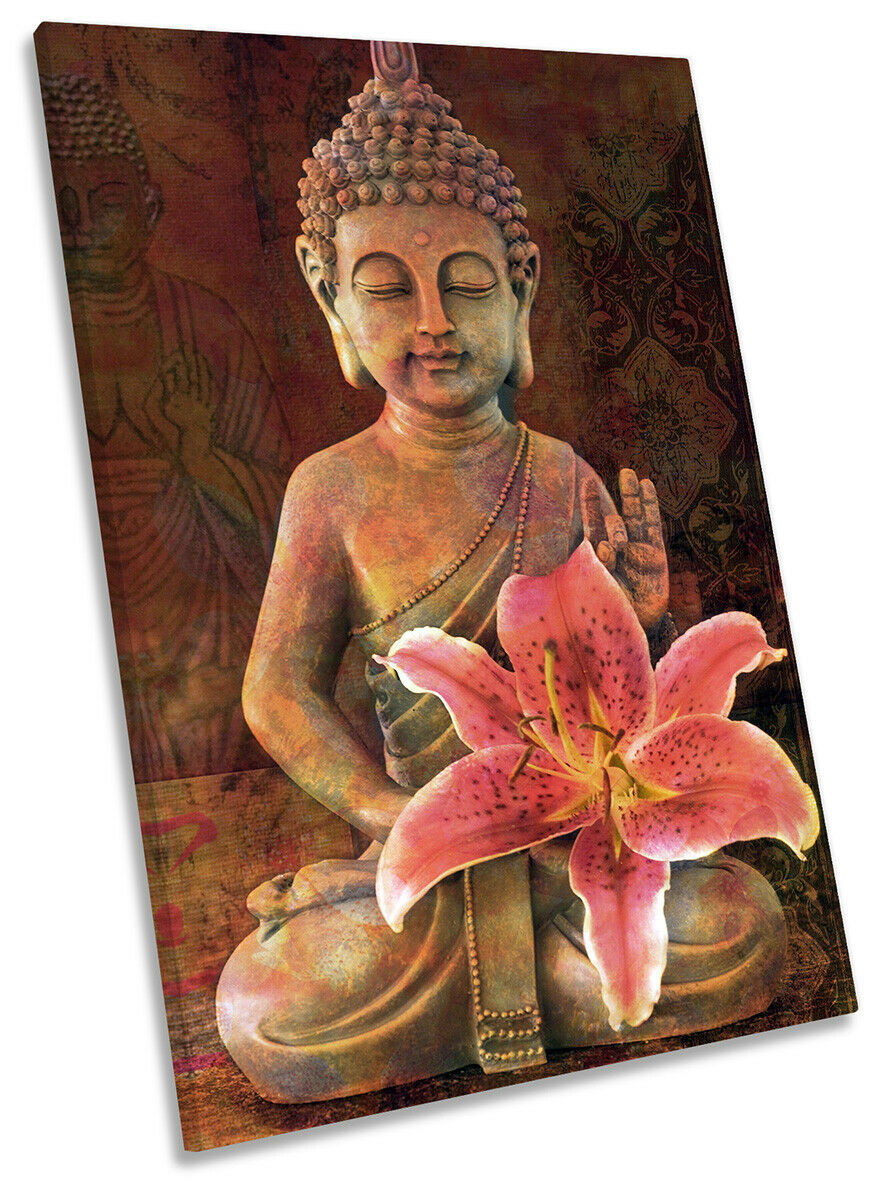 Buddha Monk Flower Picture CANVAS WALL ART Portrait Print braun