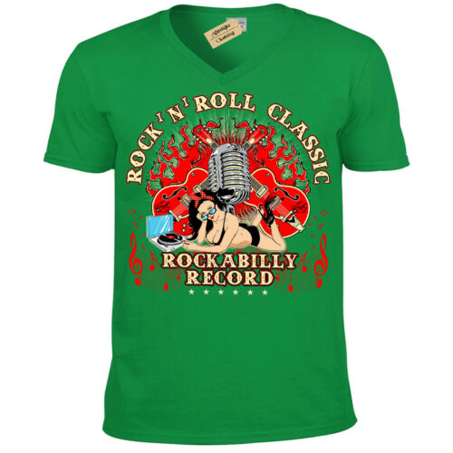 Rock N Roll T-Shirt Classique Rockabilly record Homme Col V