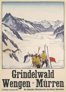 1931 Vintage Ski Posters MURREN Switzerland Art Deco Travel Print