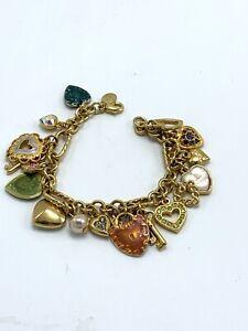 Vintage Kirks Folly Key to My Heart Charm Bracelet in Varied Shapes Gold Tone