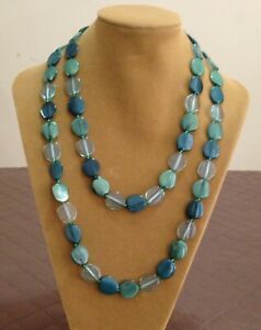 Vintage Retro Shell Green Lovely Long Lucite Long Necklace