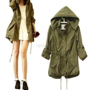Women Hoodie Drawstring Army Green Military Trench Parka Jacket ...
